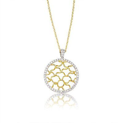 White CZ Woven Open Circle Filigree Sterling Silver Gold Plated Pendant Necklace Woven Circle Pendant