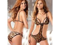 LADIEs WOMENs LEOPARD PRINT BODYSUIT LINGERIE NIGHTWEAR BODY G-STRING BIKINI