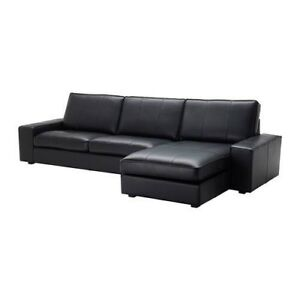IKEA Leather Sectional with Chaise