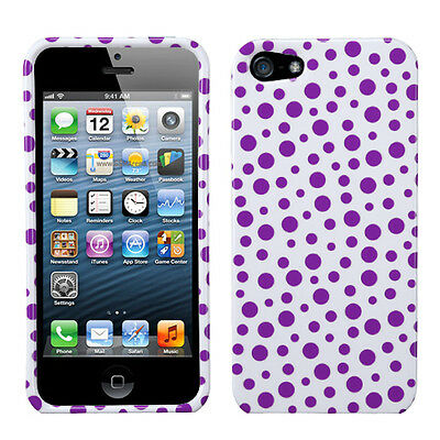 Purple Polka Dots Apple iPhone 5 5S SE Faceplate Protector Plastic Case Cover