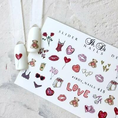 IBDI Valentines Day Bear nail decals, Sliders for manicure, Nails decal slider