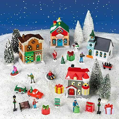 Collection with Houses Figurines Trees with Snowy 32 Piece Christmas Village