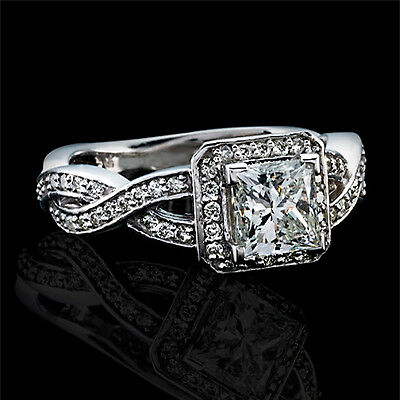 2.43 CT H/VS2 PRINCESS CUT NATURAL DIAMOND HALO ENGAGEMENT RING 14K WHITE GOLD  on Rummage