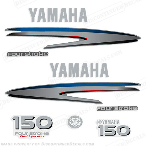 Yamaha outboard motor decal kit 150 hp 4 stroke kit for Custom outboard motor decals