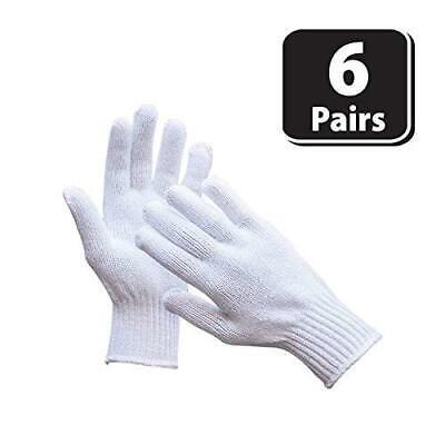 Knit Cotton Work Gloves Lightweight String Knit White 6 Pairs