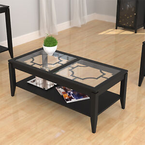 Wood and Glass Coffee Table - Black