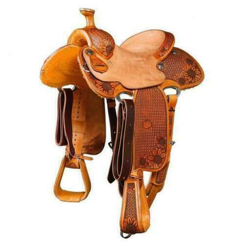 WILDRACE Western Natural Leather Hand Tooled/carved Roper Ranch Saddle