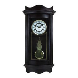 BEDFORD 25WEATHERED CHOCOLATE CHERRY GRANDFATHER WALL CLOCK with PENDULUM&CHIME