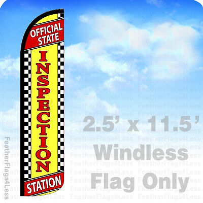 Official State Inspection Station - Windless Swooper Feather Flag 2.5x11.5 - Yz