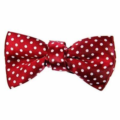 POLKA DOTS BOW Smart Tie Neck Mens Clip-on Satin Black Dickie Fancy Dress UK ()