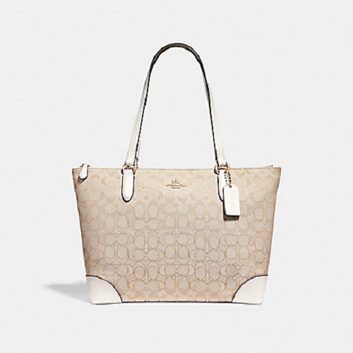 Coach Zip Top Chalk Signature Jacquard Tote Shoulder Bag