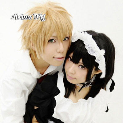 School Uniform Costume Maid Perücke Gelb Blonde Kurz Anime Haare Haare Wig (Halloween Maid Haar)