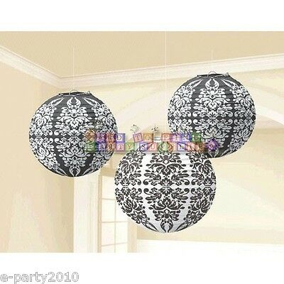 BLACK AND WHITE DAMASK PAPER LANTERNS (3) ~ Birthday Party Supplies Decorations](Birthday Black And White)