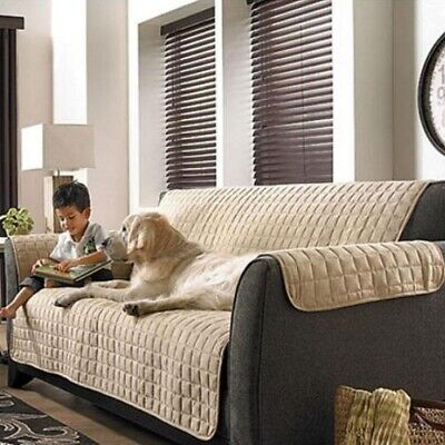 One Piece Beige Soft Micro Suede Love Seat Pet Furniture Protector Slip Covers Furniture