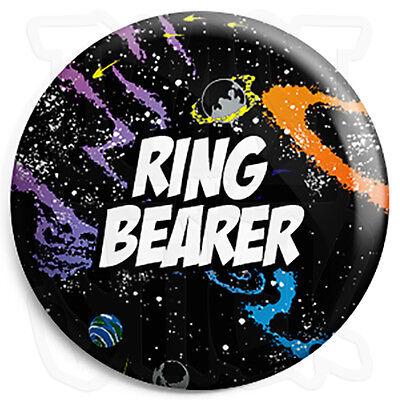 Ring Bearer - 25mm Space Wedding Button Badge with Fridge Magnet Option](Ring Bearer Badge)