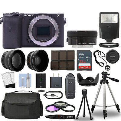 Sony Alpha a6600 Camera Body Black + 3 Lens Kit 16-50mm OSS+ 32GB + Flash & More