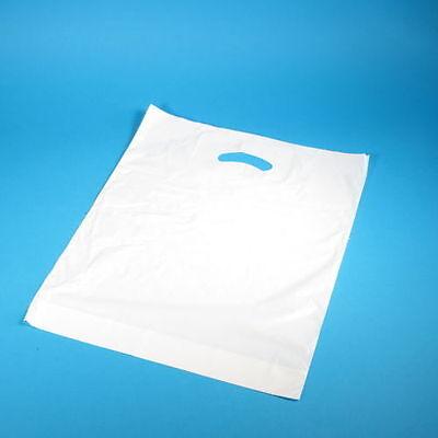 Großen Tragetaschen (250 DKT Grifflochtragetaschen Plastiktüten weiß MDPE stark groß 55+5x60cm)