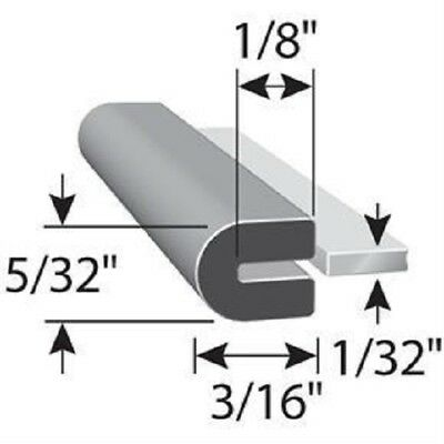 """1/32"""" Edge Trim Rubber  HR71A SOLD BY THE FOOT in Black U Channel EPDM"""