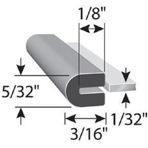 """1//16/"""" X 5//16/"""" Rubber Edge Trim U Channel EPDM  HR 69H SOLD BY THE FOOT"""
