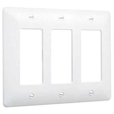 Hubbell Taymac - (10 Pack) 5550W 3 Gang Paintable Masque Wall Plate Cover, White
