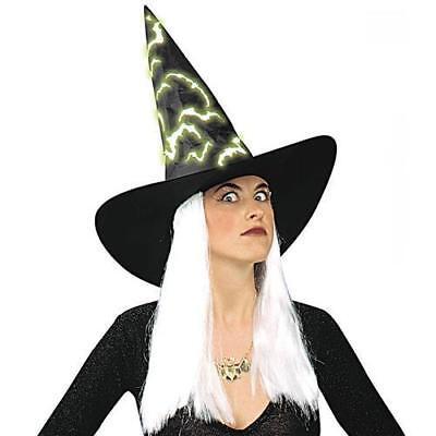 HEXEN HUT MIT NEON-FLEDERMÄUSEN UND WEIßEN HAAREN Halloween 5157r ()