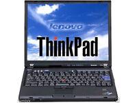 Cheap IBM THINKPAD T60 LAPTOP/14inch; SCREEN/ WIRELESS/ DVD/ WINDOWS 7