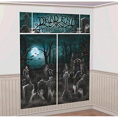 CEMETERY SCENE SETTER Backdrop Party Wall Decoration Halloween Haunted - Cemetery Halloween Party