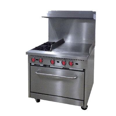 Central Restaurant Cr6-g24 36 2 Burner Lp Gas Range With 24 Griddle