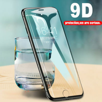 Screen Protector For iPhone X 8 7 6 Plus 9D Tempered Glass Full Coverage Best (Best Screen Protector For Iphone 8)