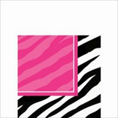 ZEBRA STRIPES Pink and Black SMALL NAPKINS (16) ~ Birthday Party Supplies Animal