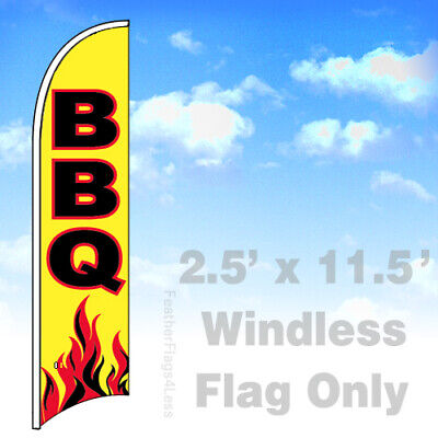 Bbq Windless Swooper Feather Flag Banner Sign 2.5x11.5 - Yb