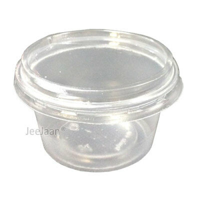 100 - 4oz CLEAR PLASTIC ROUND CONTAINERS TUBS LIDS FOOD SAFE TAKEAWAY PARTY](Plastic Party Tub)