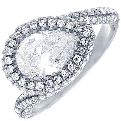 GIA Certified Pear Diamond Engagement Ring 2.40 CTW 18k White Gold
