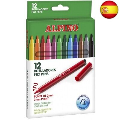 Alpino AR001002 - Pack de 12 rotuladores, colores surtidos (Individual)