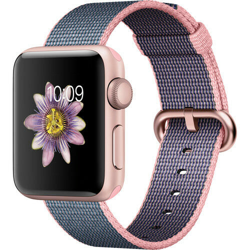 Apple Watch Series 2 38mm (Rose Gold Aluminum Case, Pink/Blue Woven Nylon Band)