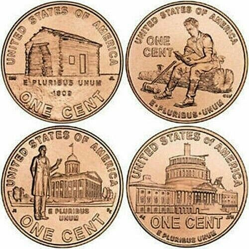 4 BU Lincoln Bicentennial 2009 Pennies mixed P/D 1 of each design 4 Coins Total