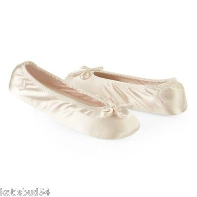 Ladies Isotoner Satin Stretch Ballet Style Slippers CREAM Ivory Soft suede sole