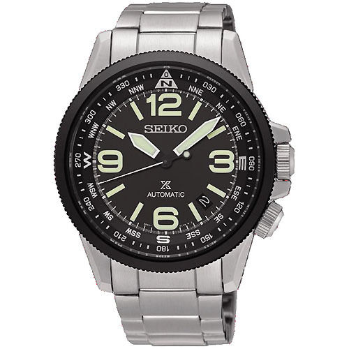 *BRAND NEW* Seiko Men's Black Dial Stainless Steel Bracelet  Watch SRPA71