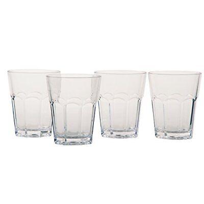 12 Oz Juice Glasses - TAG Tumbler Glasses Acrylic 12oz Clear Stacking Bar Juice Drink Kitchen Set of 4