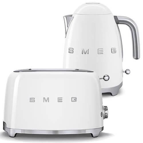 SMEG Retro White Kettle & 2 Slice Toaster - KLF03WHUK & TSF01WHUK - Brand New