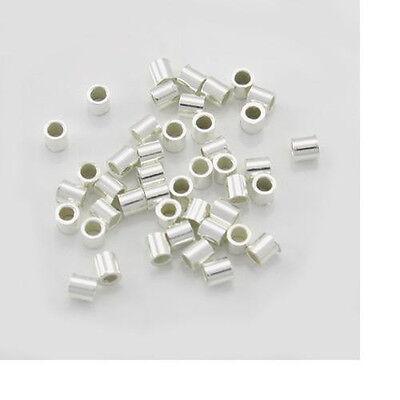100pc, 2x2 Sterling Silver Crimps. 925 Crimp Beads, End Tubes, 2mm Spacer Crimp