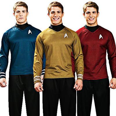 Sci-fi Outfit (Star Trek Shirt Adult Fancy Dress Scott Kirk Spock Sci Fi Mens Costume Outfit)