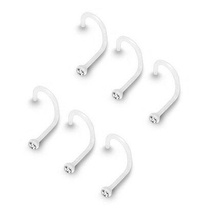 6 Pc 20g Acrylic Clear Bioflex Nose Ring Screw Retainer Bezel Set 2mm Clear (Bezel Nose Ring)