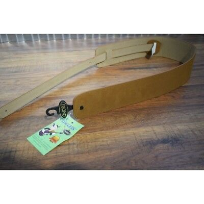 """Onori 3"""" Cowless Suede Guitar Strap with Beige Cowless Suede"""