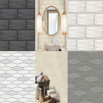 Holden Decor Apex/Wave Tile Effect  Wallpaper Marble Glitter Kitchen Bathroom