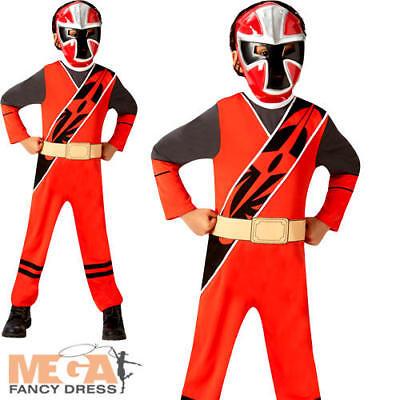 Red Ninja Steel Power Rangers Boys Fancy Dress Superhero Childrens Kids Costume