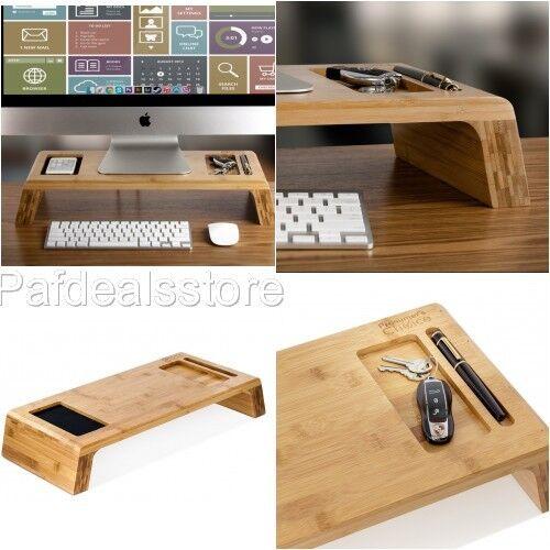 Monitor Stand Wood Riser Bamboo Desk Organizer iMac Tray