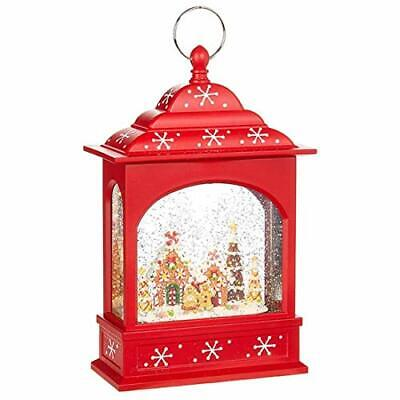 """RAZ Imports Gingerbread Lighted Water Lantern 11"""" Lighted Christmas Snow Glob..."""