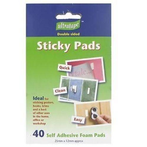 Ultratape Double Sided Sticky Pads - 40 Self Adhesive Foam Pads - 25mm x 12mm