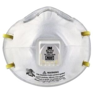 5 Masks - 3M Particulate Respirator 8210V, N95 Respiratory Protection